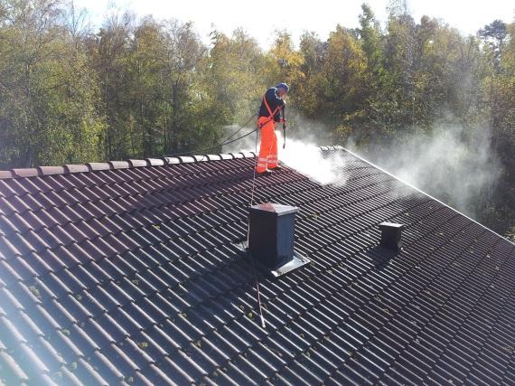 Halmstads Fönsterputs- Tvätt av tak tar bort missfärgningar och biologisk tillväxt